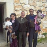Hanna Massad (center) with members of the Gaza Baptist Church (date unknown).